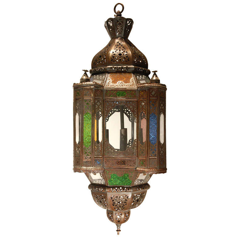 Moroccan Light Fixture With Colored Glass 1