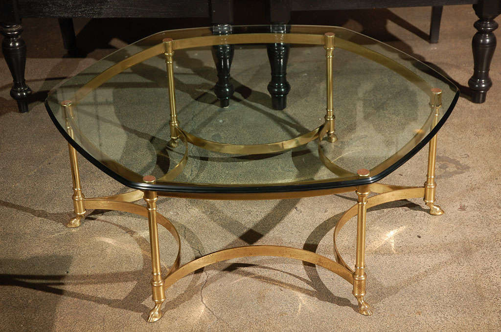 Polished Brass and Glass Octagonal Coffee table, La Barge 2