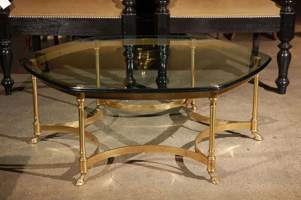 Polished Brass and Glass Octagonal Coffee table, La Barge 3