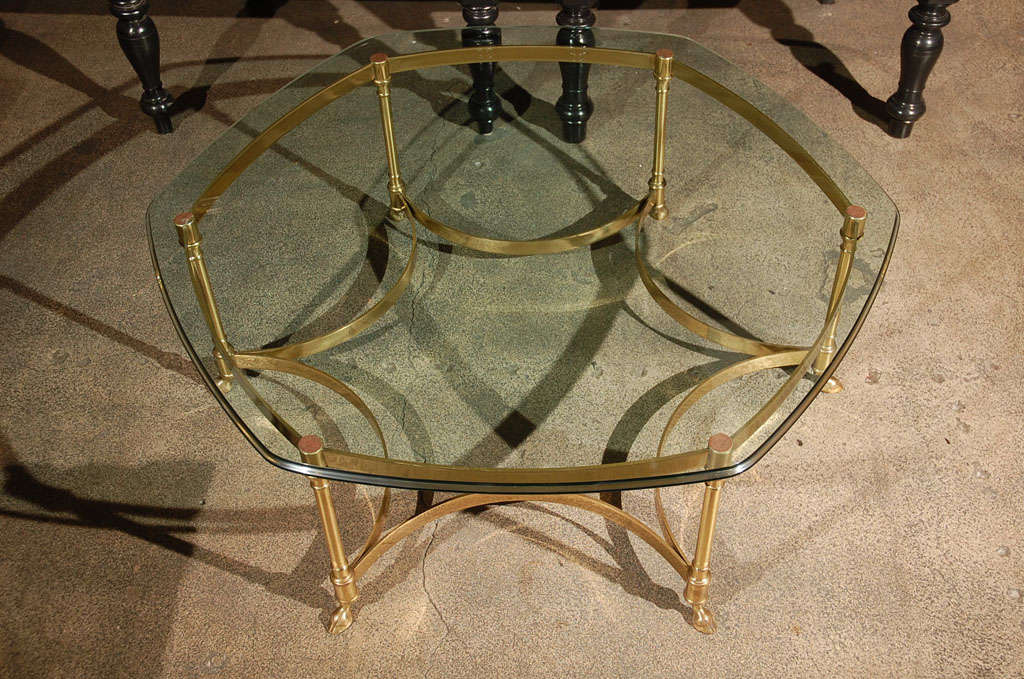 Polished Brass and Glass Octagonal Coffee table, La Barge 4