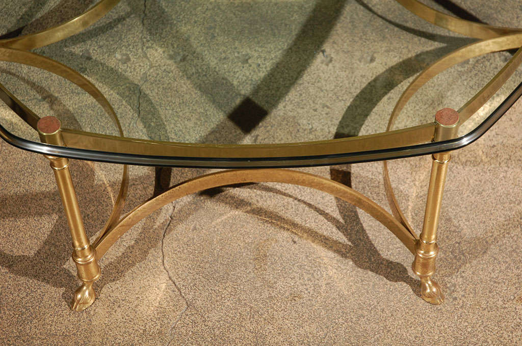 Polished Brass and Glass Octagonal Coffee table, La Barge 5