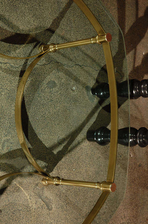Polished Brass and Glass Octagonal Coffee table, La Barge 8