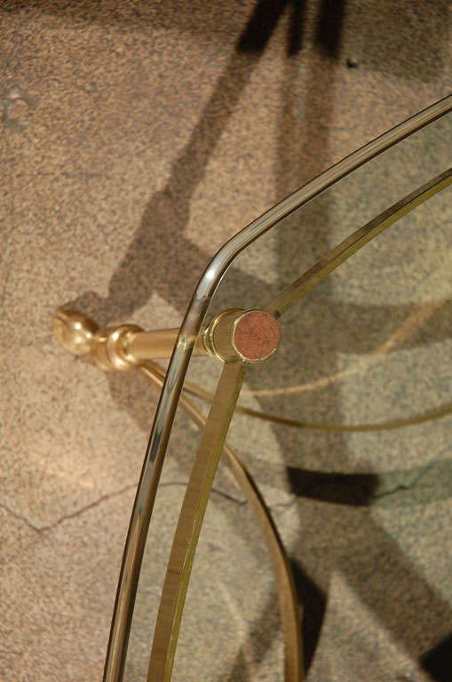 Polished Brass and Glass Octagonal Coffee table, La Barge 9