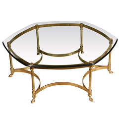 French Polished Brass and Glass CoffeeTable, La Barge