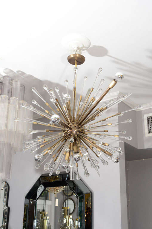 Antique glass tear drop chandelier.