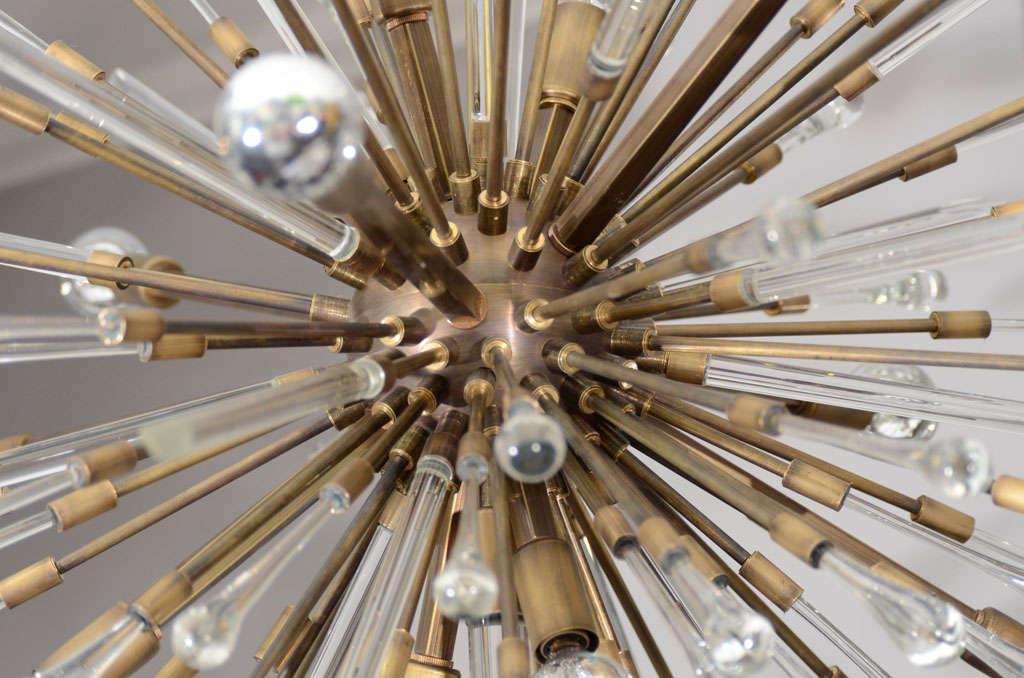 American Antique Brass Custom Tear Drop Chandelier For Sale