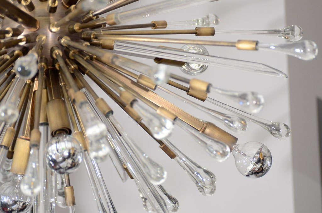 Contemporary Antique Brass Custom Tear Drop Chandelier For Sale