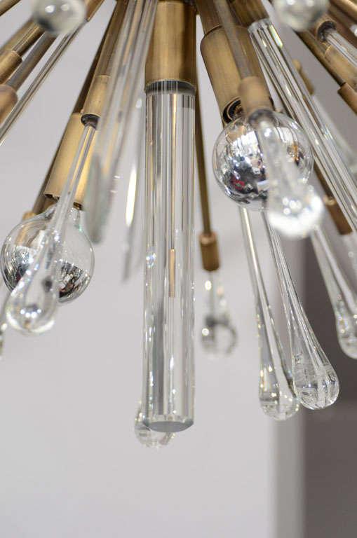 Antique Brass Custom Tear Drop Chandelier For Sale 1