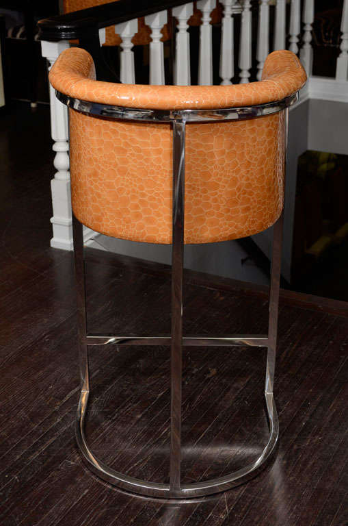 Set Of Three Custom Bar Stools At 1stdibs
