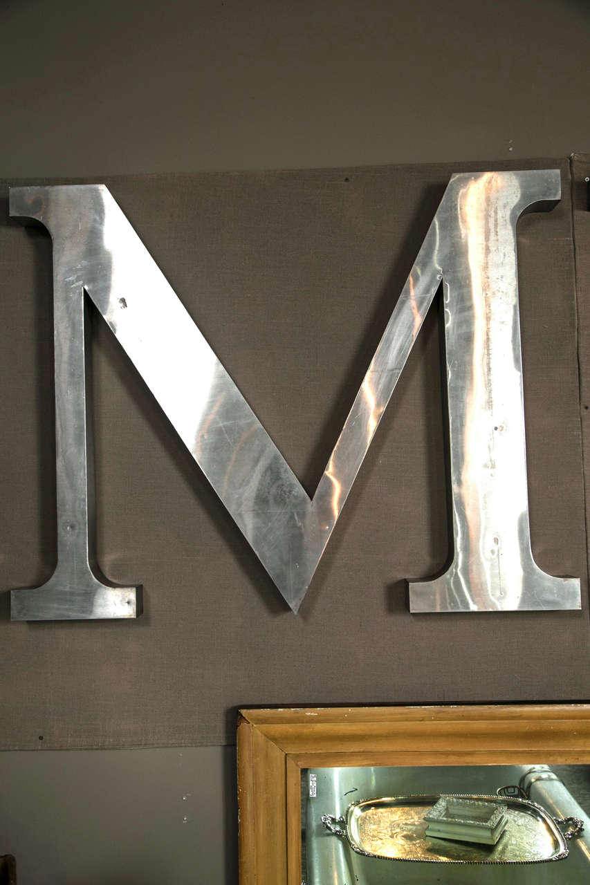 Large decorative me stainless steel letters at 1stdibs for Furniture 6 letters