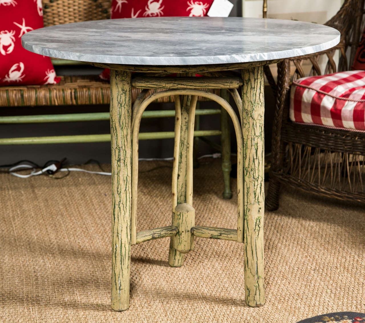 Old Hickory Furniture Co Tree Trunk Base With Grey Marble Top For Sale At 1stdibs