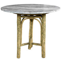 Old Hickory Furniture Co Tree Trunk Base with Grey Marble Top
