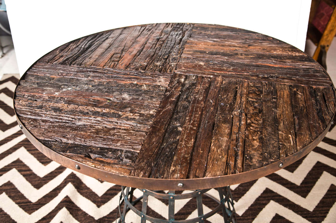 Reclaimed Wood Center Table With Wrought Iron Base At 1stdibs