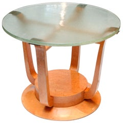 Burled Deco Table with Glass Top