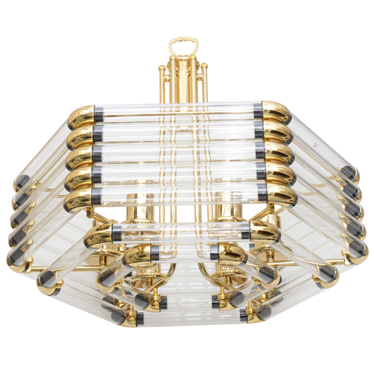 Stuning Scolari Era Octagonal Shape Brass and Glass Tube – Brass and Glass Chandelier