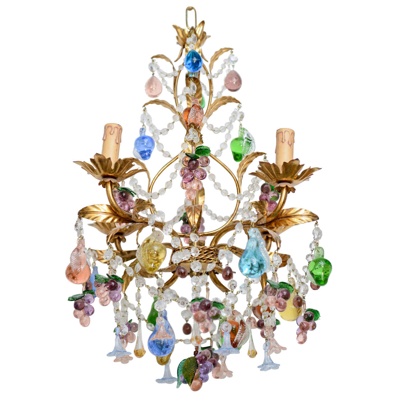Vintage Hand Blown Multi Colored Murano Chandelier at 1stdibs