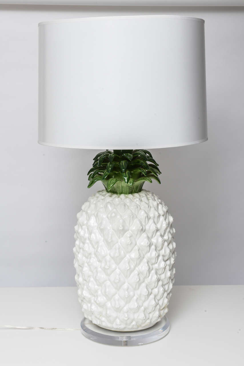 Large Glazed Terra Cotta Pineapple Lamp 2