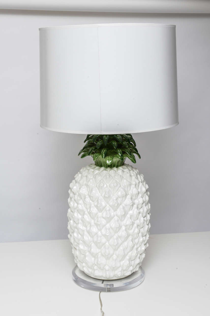 Large Glazed Terra Cotta Pineapple Lamp 3