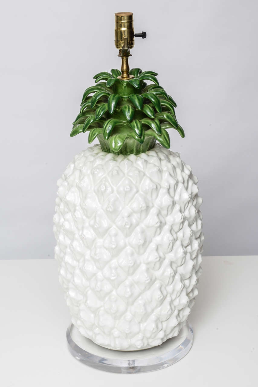 Large Glazed Terra Cotta Pineapple Lamp 4