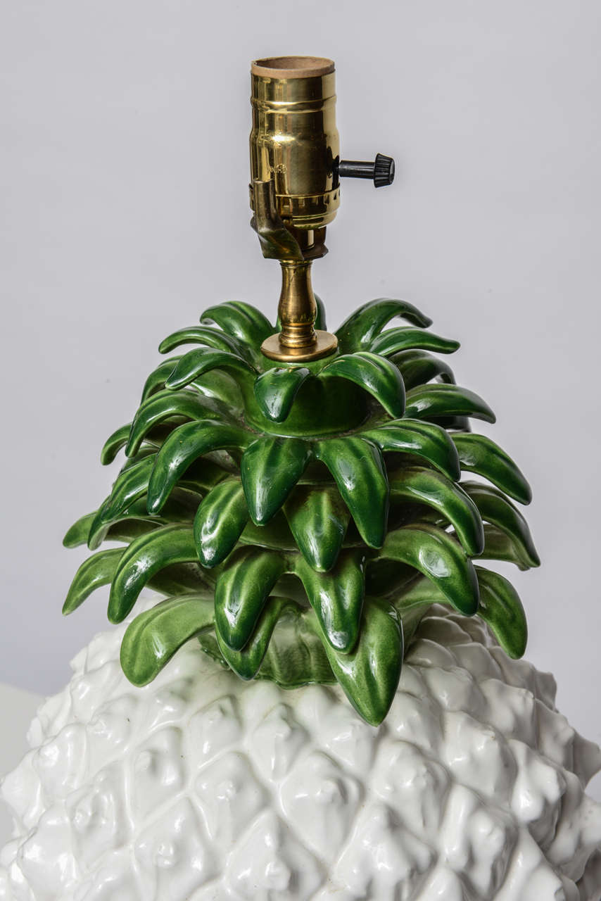 Large Glazed Terra Cotta Pineapple Lamp 5
