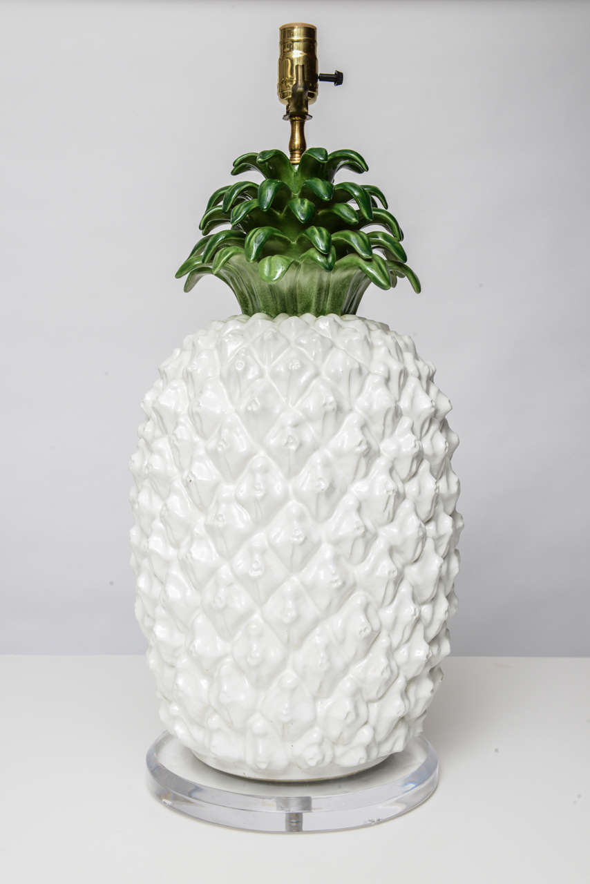 Large Glazed Terra Cotta Pineapple Lamp 6