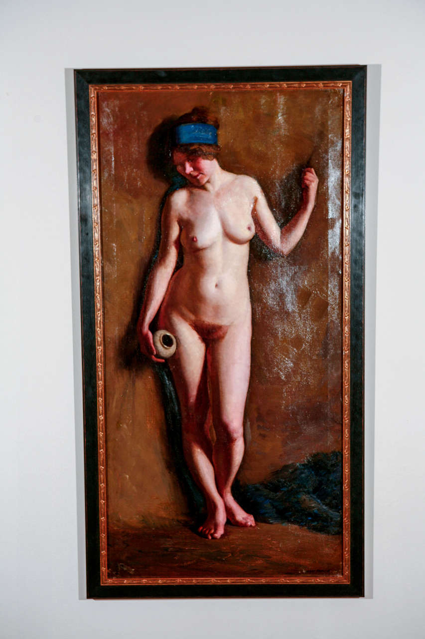 Early 20th century nude. Oil on canvas. Dimensions: 48