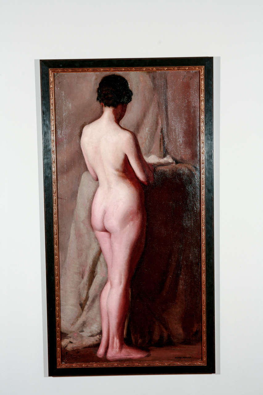 Early 20th century nude. Oil on canvas. Measures: 48