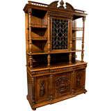 Antique Solid Oak Tudor Carved Cabinet Huntboard