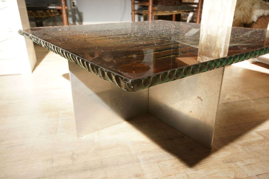 Zebra Glass Low Table At 1stdibs