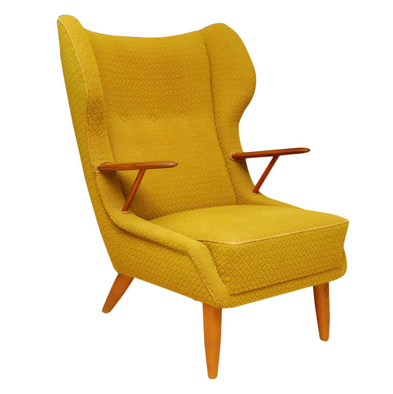 Danish Modern Wing Back Armchair At 1stdibs