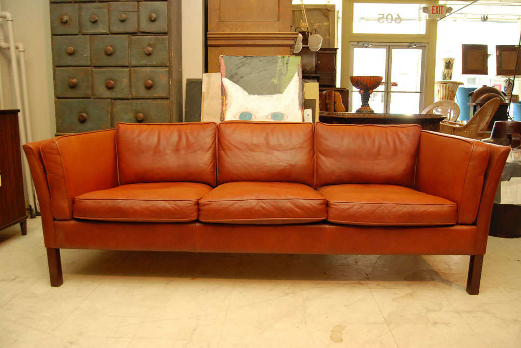 Danish Modern Brown Leather Sofa 2