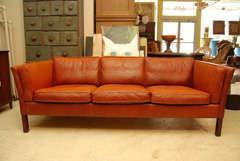 Danish Modern Brown Leather Sofa image 2