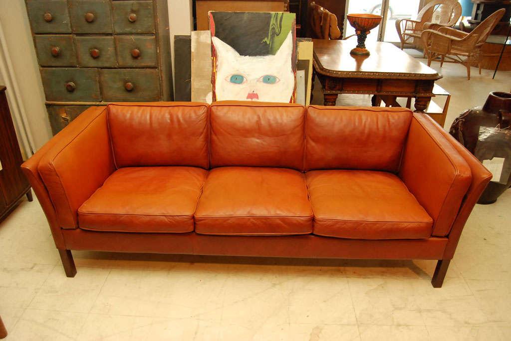 Danish Modern Brown Leather Sofa 3
