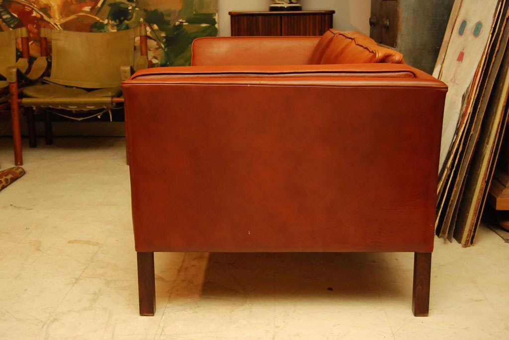 Danish Modern Brown Leather Sofa 4