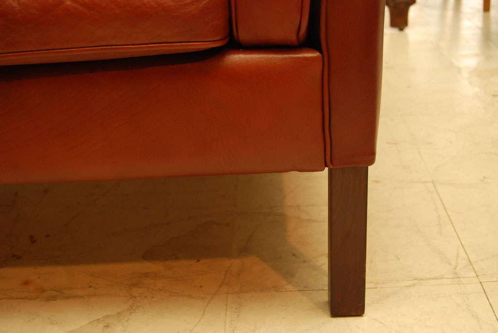 Danish Modern Brown Leather Sofa 6