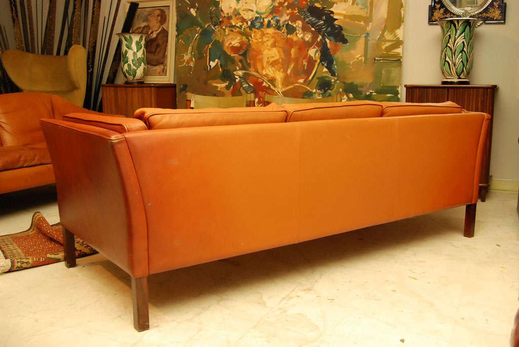 Danish Modern Brown Leather Sofa 7