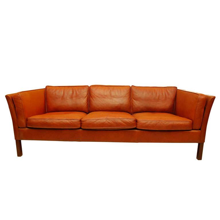 Danish Modern Brown Leather Sofa 1