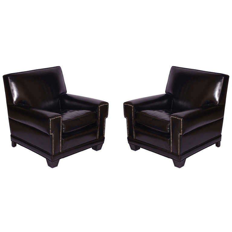 pair of black leather club chairs at 1stdibs