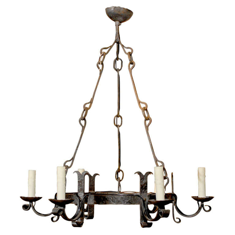 Me val Iron Chandelier at 1stdibs