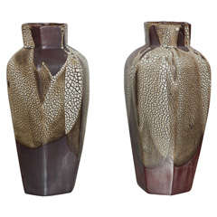 Pair of Art Deco Snakeskin Glaze Vases by Jean Pointu