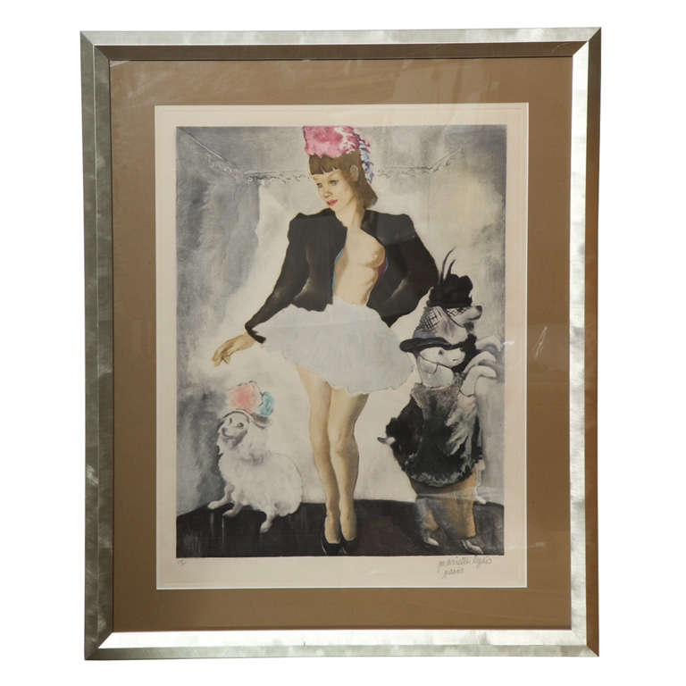 Silver Framed Signed Mariette Lydis Lithograph 1