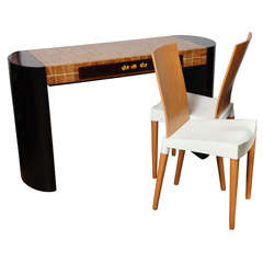 Ebonizied French Wood Marquetry Desk with Phillippe Stark Chairs