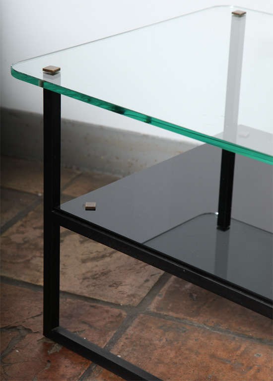 mid century designer glass top metal coffee table at 1stdibs glass and wood bookshelves Reclaimed Wood
