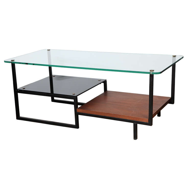 Mid Century Designer Glass Top Metal Coffee Table At 1stdibs