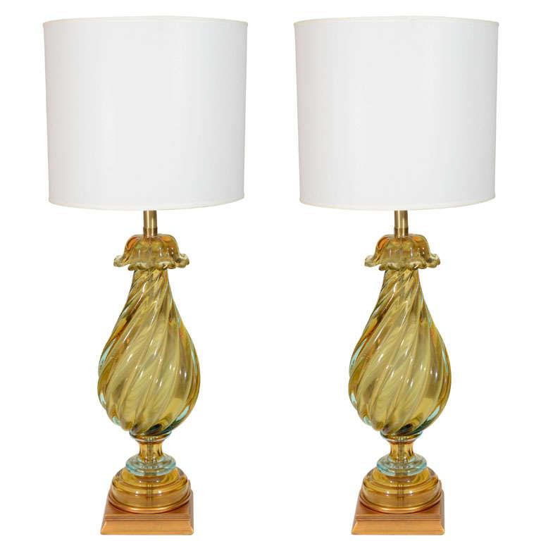 seguso peridot aquamarine glass lamps for sale at 1stdibs. Black Bedroom Furniture Sets. Home Design Ideas