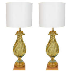 Seguso Peridot/Aquamarine Glass Lamps