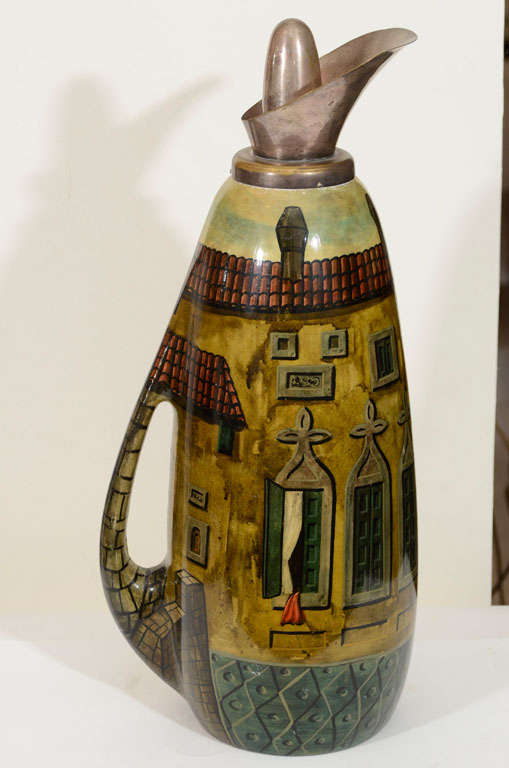 Mid Century hand decorated parchment carafe depicting Italian street scape with an aged silver plate stopper and spout.