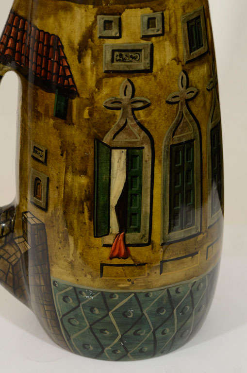 Italian Aldo Tura Hand-Painted Parchment Carafe  For Sale