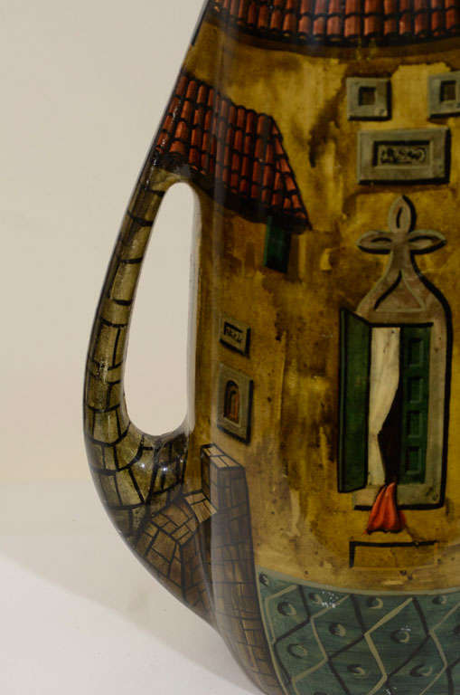 Aldo Tura Hand-Painted Parchment Carafe  In Good Condition For Sale In New York, NY