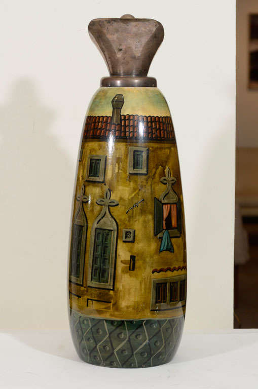 20th Century Aldo Tura Hand-Painted Parchment Carafe  For Sale